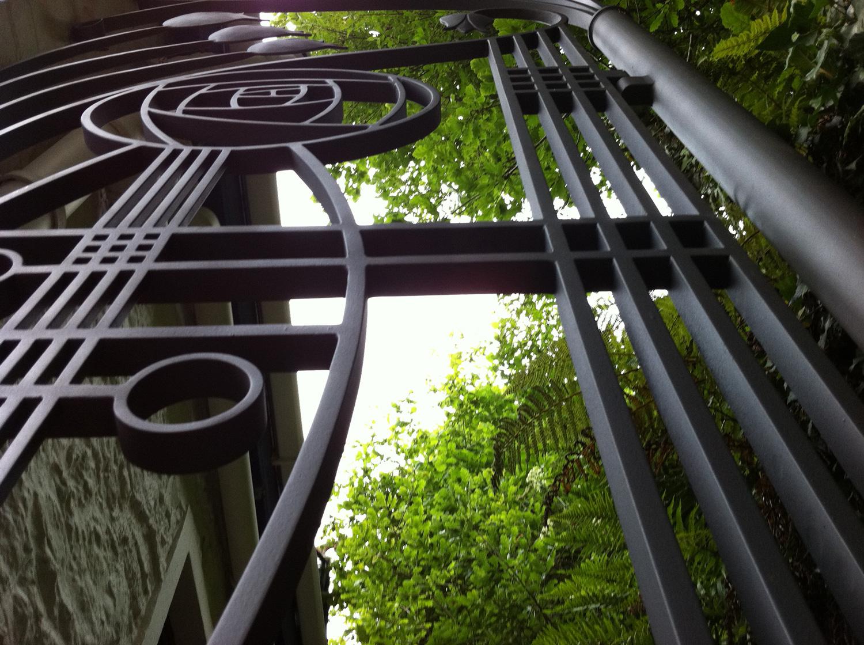 Macintosh inspired garden gate
