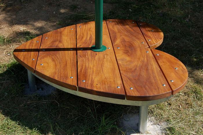 Memorial bench seat detail