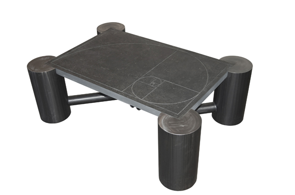 Golden section slate and steel table