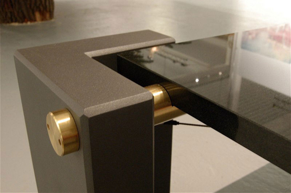 Granite, steel and brass coffee table-detail