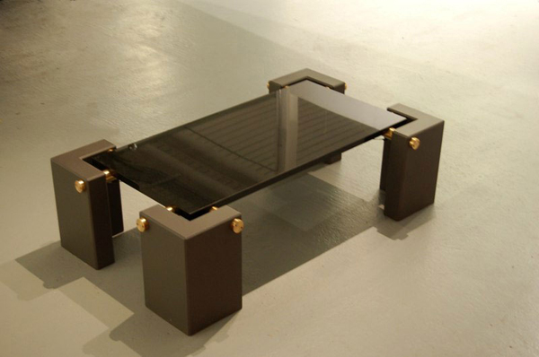 Granite, steel and brass coffee table