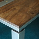 Walnut and glass blasted stainless steel dining table-detail