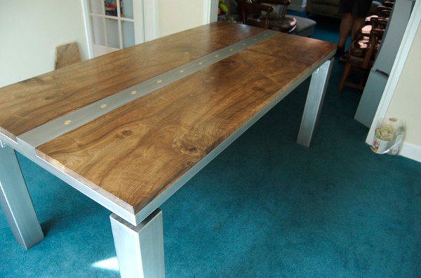 Wonderful Walnut and glass blasted stainless steel dining table-detail 600 x 396 · 176 kB · jpeg