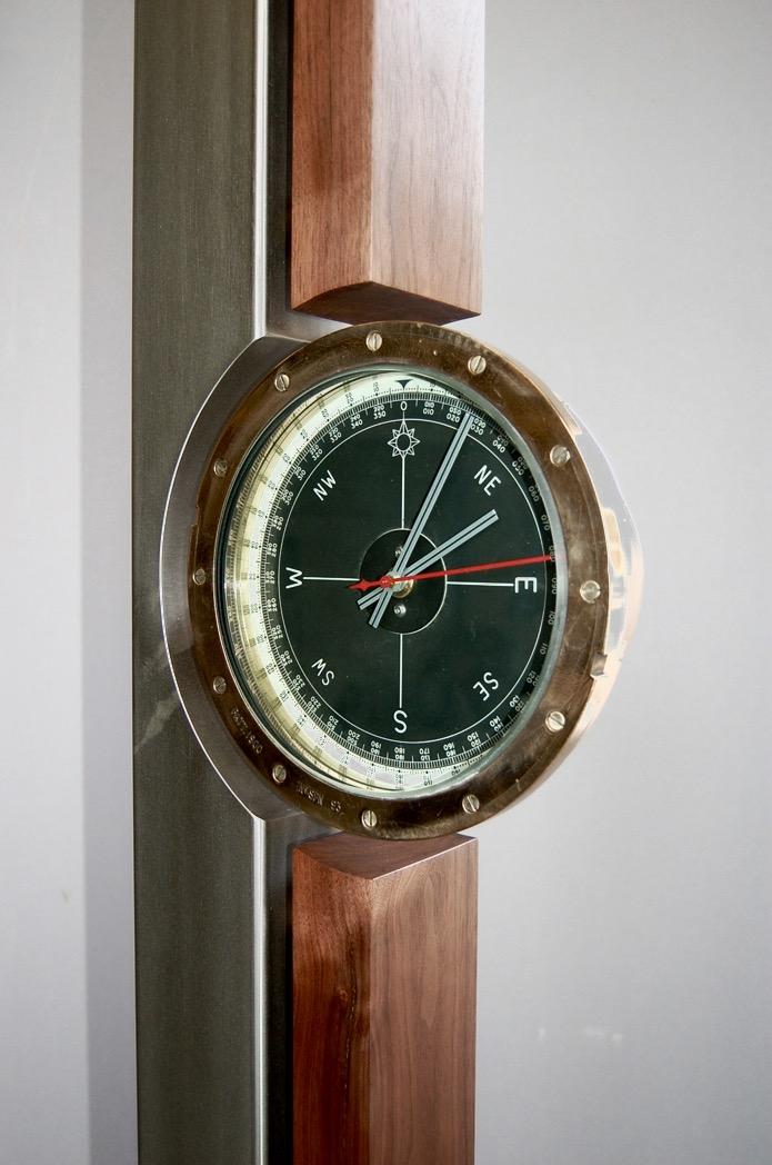 Stainless steel and walnut stand with bronze ship's compass clock