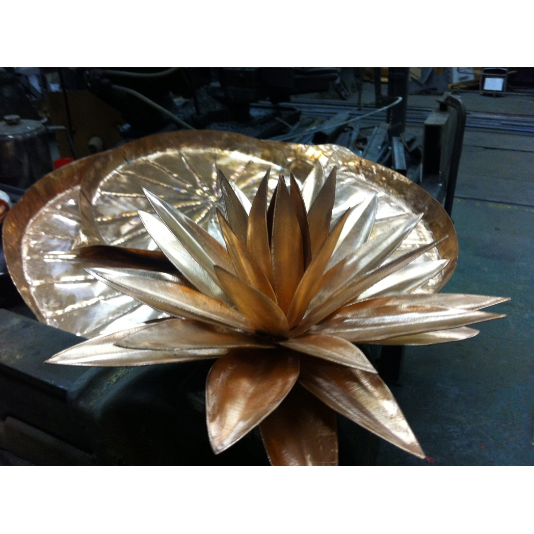 forged copper waterlily sculpture