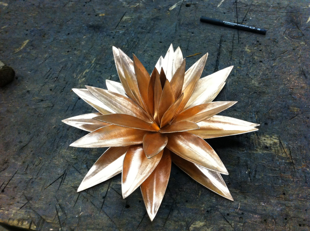 copper waterlily sculpture