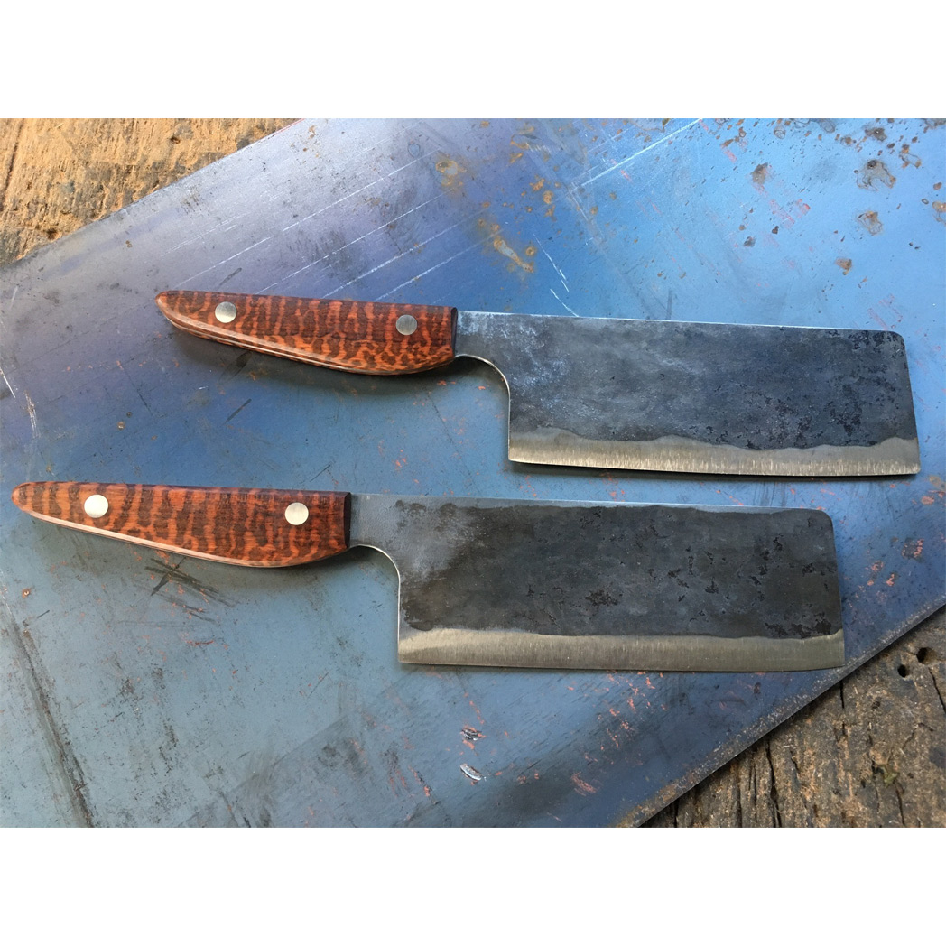 titanium blade cleaver knife with snakewood handle