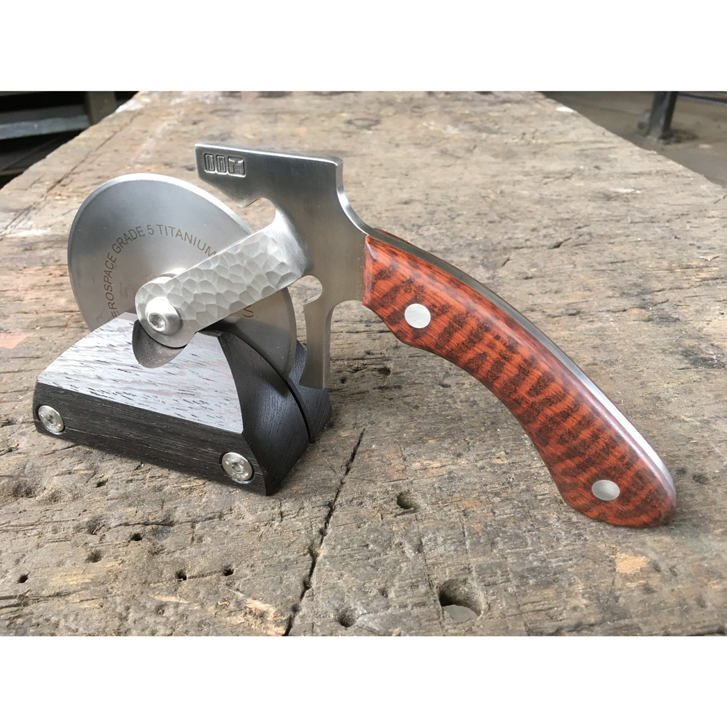 titanium blade pizza cutter with snakewood handle