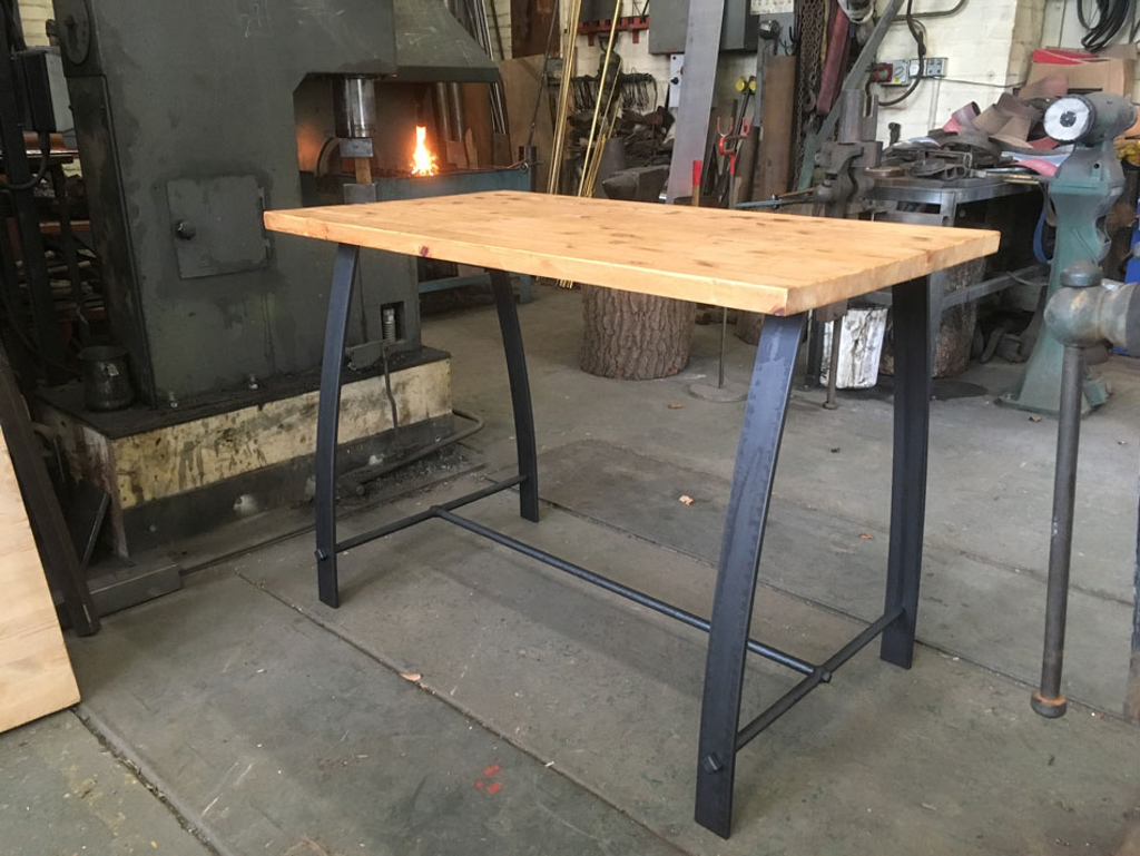 reclaimed pine and forged steel breakfast bar