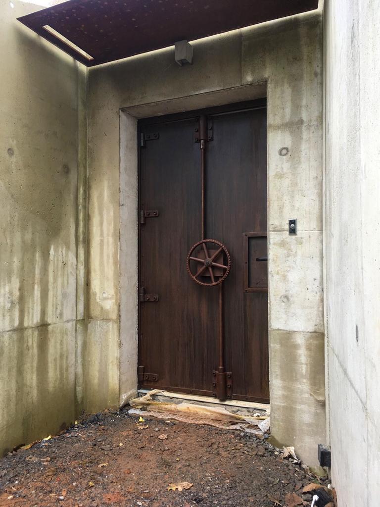 bunker style steel faced door