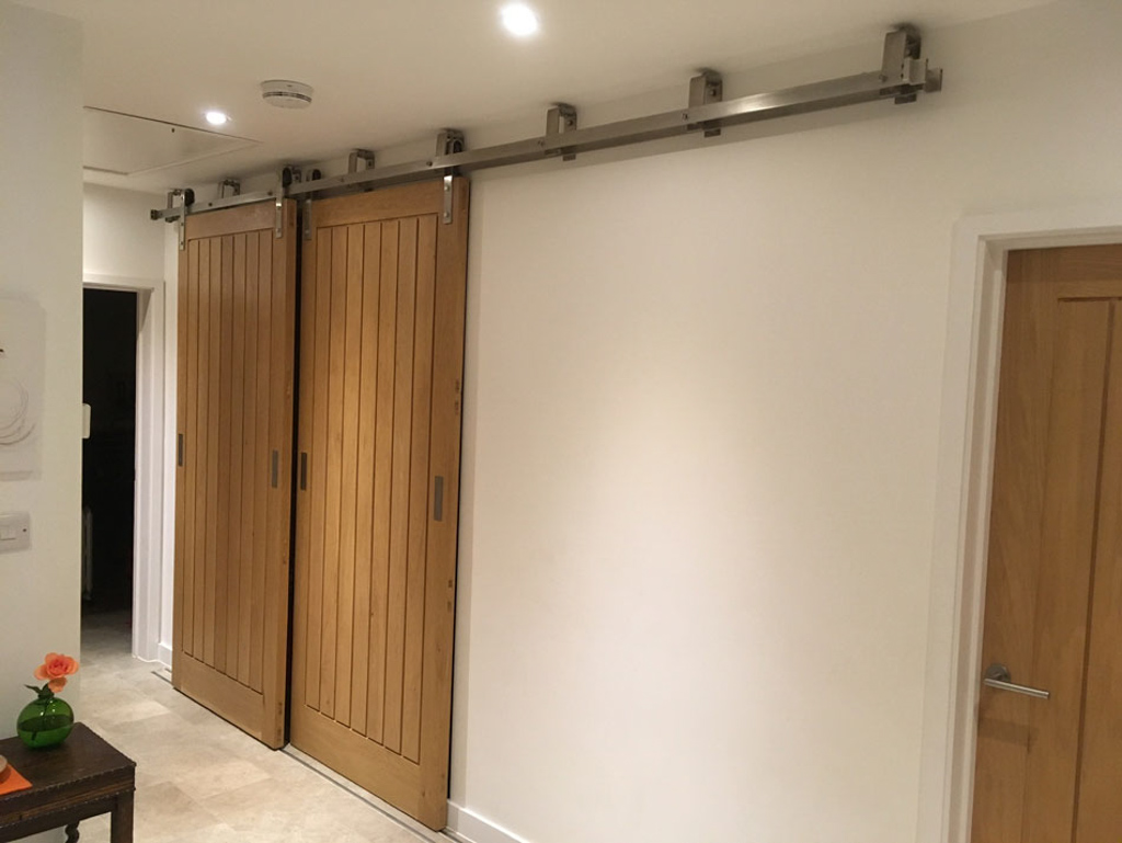 Stainless Steel with Nylon Rollers Custom Built Dual Door Sliding Rail
