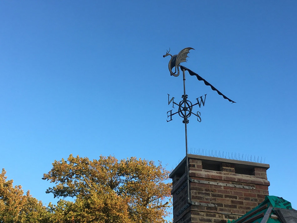 forged steel dragon weather vane