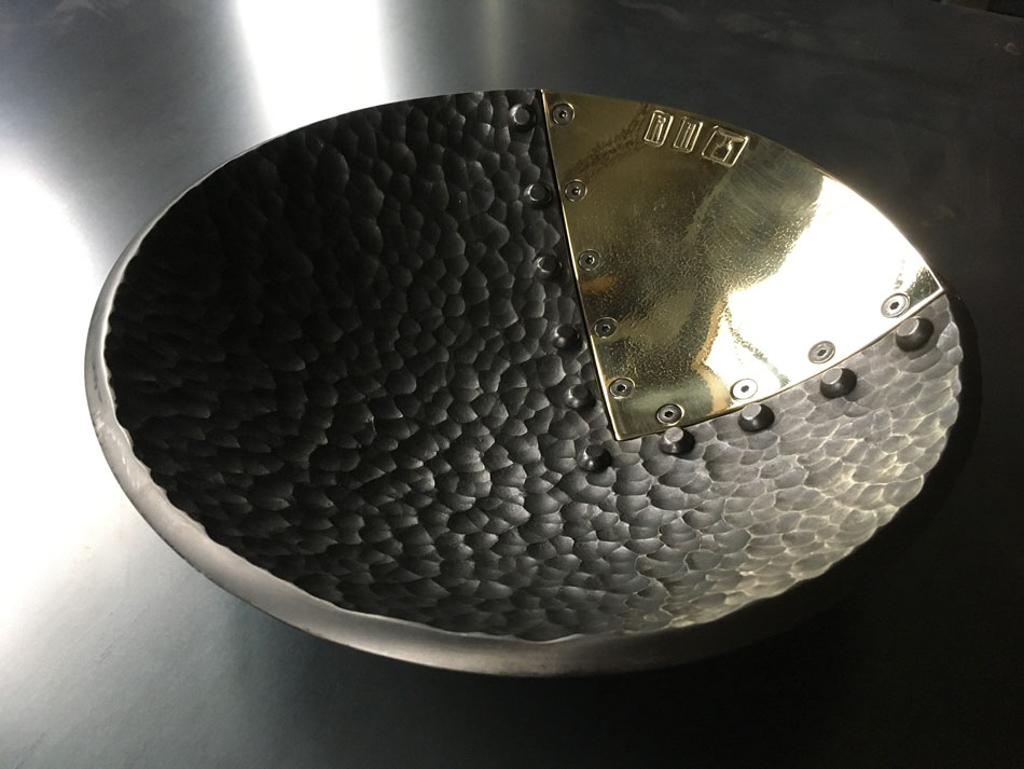 forged steel and brass bowl
