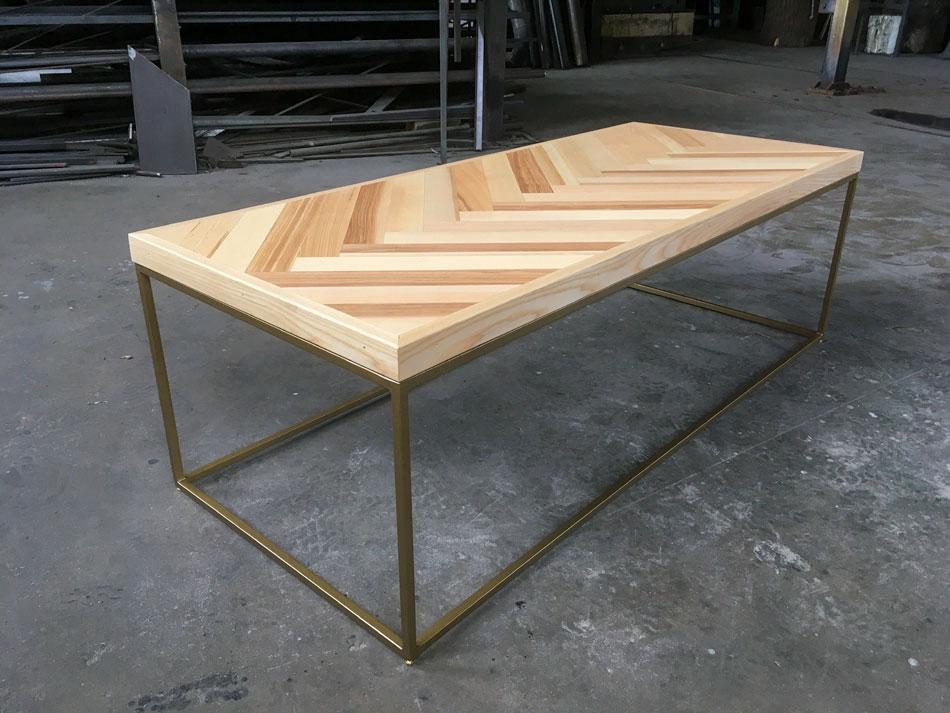 herringbone ash wooden top coffee table with steel frame