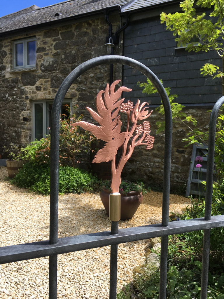rowan tree sprig copper detail on traditional style forged steel gate