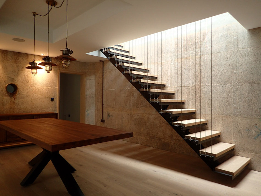 cantilever style steel staircase