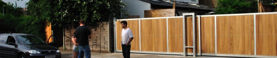 Steel and iroko automated gates made in collaboration with Alex Pole Design